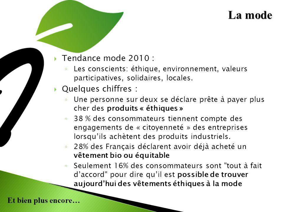 Et bien plus encore… Tendance mode 2010 : Les conscients: éthique, environnement, valeurs participatives, solidaires, locales. Quelques chiffres : Une