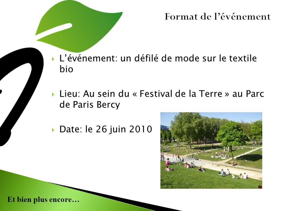 Et bien plus encore… Format de lévénement Lévénement: un défilé de mode sur le textile bio Lieu: Au sein du « Festival de la Terre » au Parc de Paris Bercy Date: le 26 juin 2010
