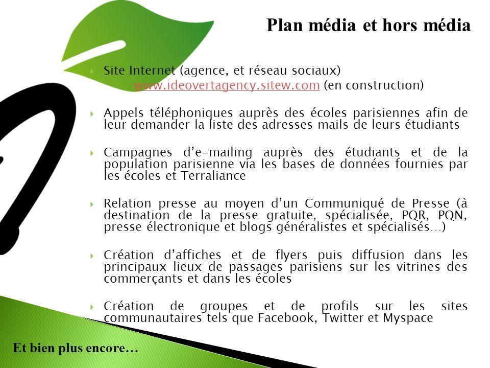 Et bien plus encore… Site Internet (agence, et réseau sociaux) www.ideovertagency.sitew.comwww.ideovertagency.sitew.com (en construction) Appels téléphoniques auprès des écoles parisiennes afin de leur demander la liste des adresses mails de leurs étudiants Campagnes de-mailing auprès des étudiants et de la population parisienne via les bases de données fournies par les écoles et Terraliance Relation presse au moyen dun Communiqué de Presse (à destination de la presse gratuite, spécialisée, PQR, PQN, presse électronique et blogs généralistes et spécialisés…) Création daffiches et de flyers puis diffusion dans les principaux lieux de passages parisiens sur les vitrines des commerçants et dans les écoles Création de groupes et de profils sur les sites communautaires tels que Facebook, Twitter et Myspace Plan média et hors média