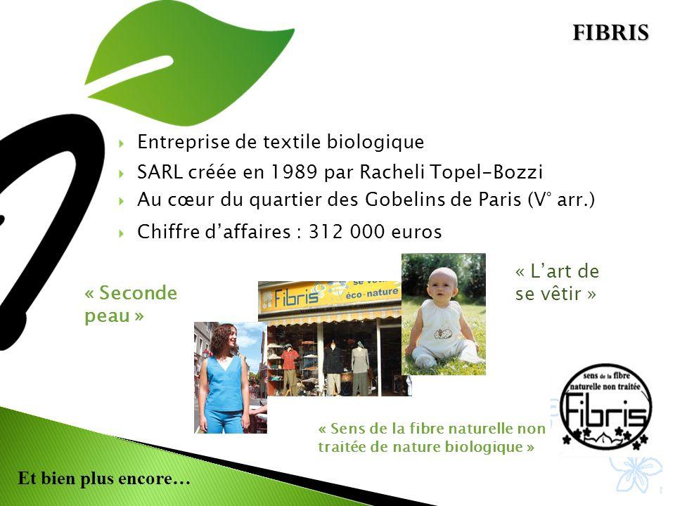Et bien plus encore… Entreprise de textile biologique SARL créée en 1989 par Racheli Topel-Bozzi Au cœur du quartier des Gobelins de Paris (V° arr.) Chiffre daffaires : 312 000 euros « Seconde peau » « Sens de la fibre naturelle non traitée de nature biologique » « Lart de se vêtir » FIBRIS