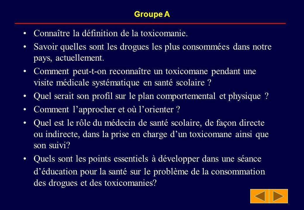 Groupe A Connaître la définition de la toxicomanie.