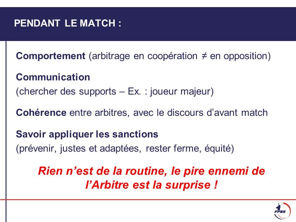 PENDANT LE MATCH : Comportement (arbitrage en coopération en opposition) Communication (chercher des supports – Ex. : joueur majeur) Cohérence entre a