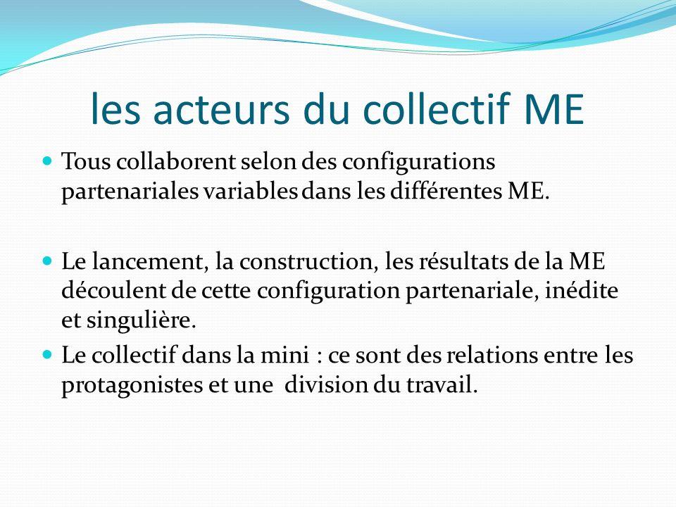 les acteurs du collectif ME Tous collaborent selon des configurations partenariales variables dans les différentes ME. Le lancement, la construction,