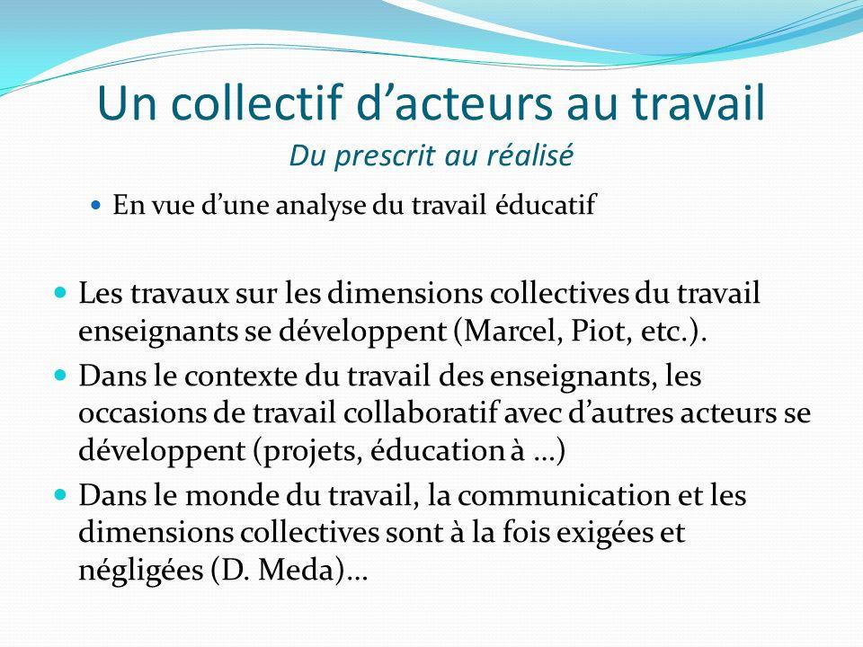 Un collectif dacteurs au travail Du prescrit au réalisé En vue dune analyse du travail éducatif Les travaux sur les dimensions collectives du travail