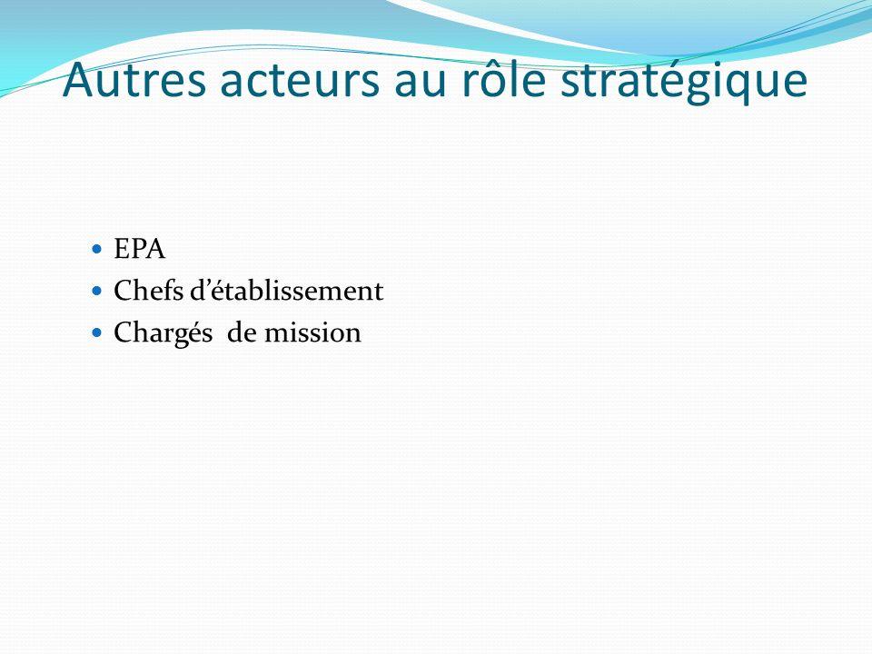Autres acteurs au rôle stratégique EPA Chefs détablissement Chargés de mission