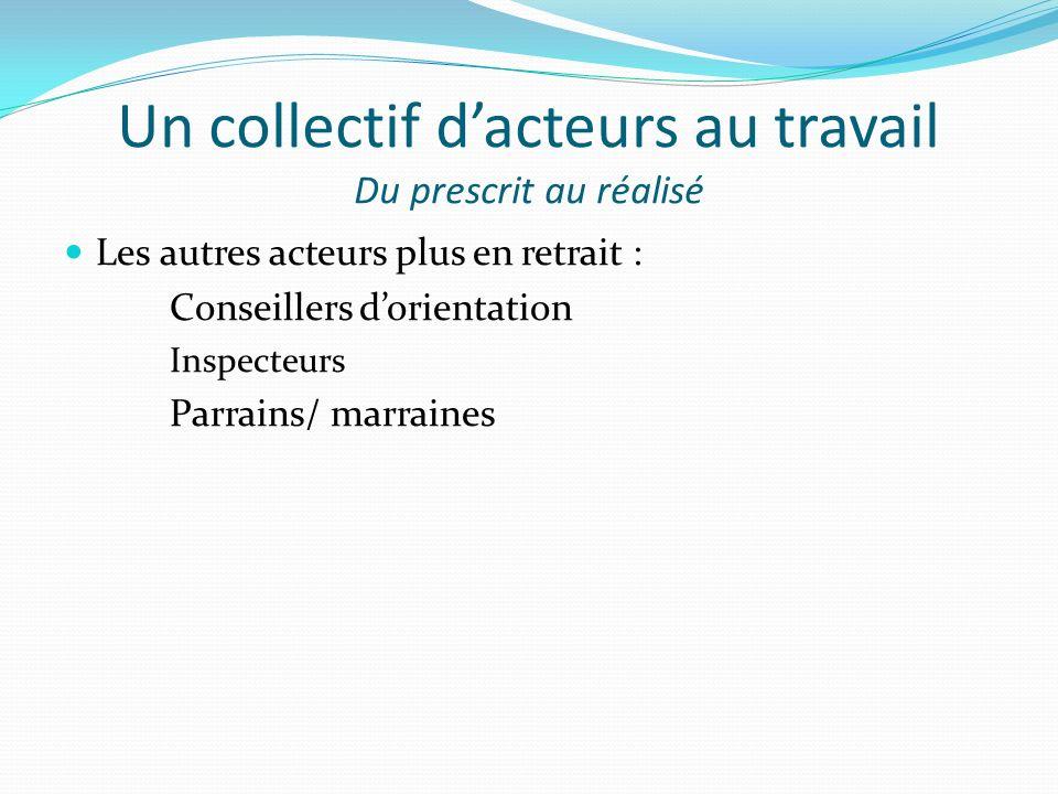 Un collectif dacteurs au travail Du prescrit au réalisé Les autres acteurs plus en retrait : Conseillers dorientation Inspecteurs Parrains/ marraines