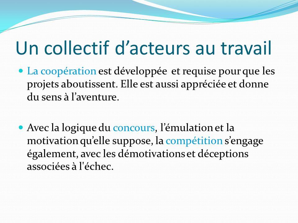 Un collectif dacteurs au travail La coopération est développée et requise pour que les projets aboutissent. Elle est aussi appréciée et donne du sens