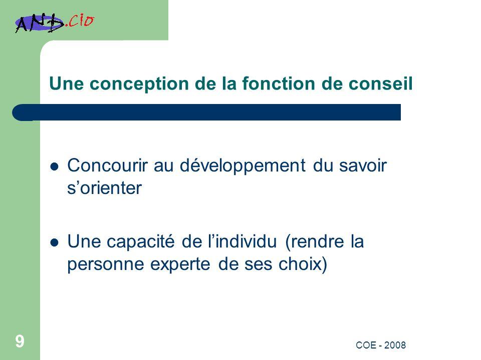 Une conception de la fonction de conseil Concourir au développement du savoir sorienter Une capacité de lindividu (rendre la personne experte de ses choix) 9 COE - 2008