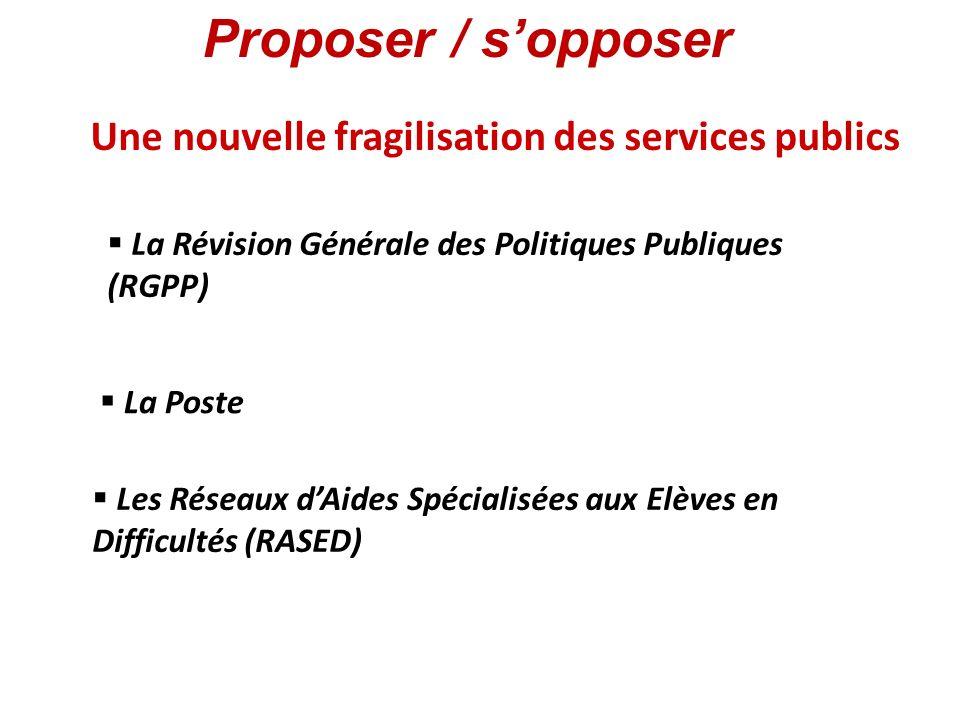 Une nouvelle fragilisation des services publics La Révision Générale des Politiques Publiques (RGPP) La Poste Les Réseaux dAides Spécialisées aux Elèv