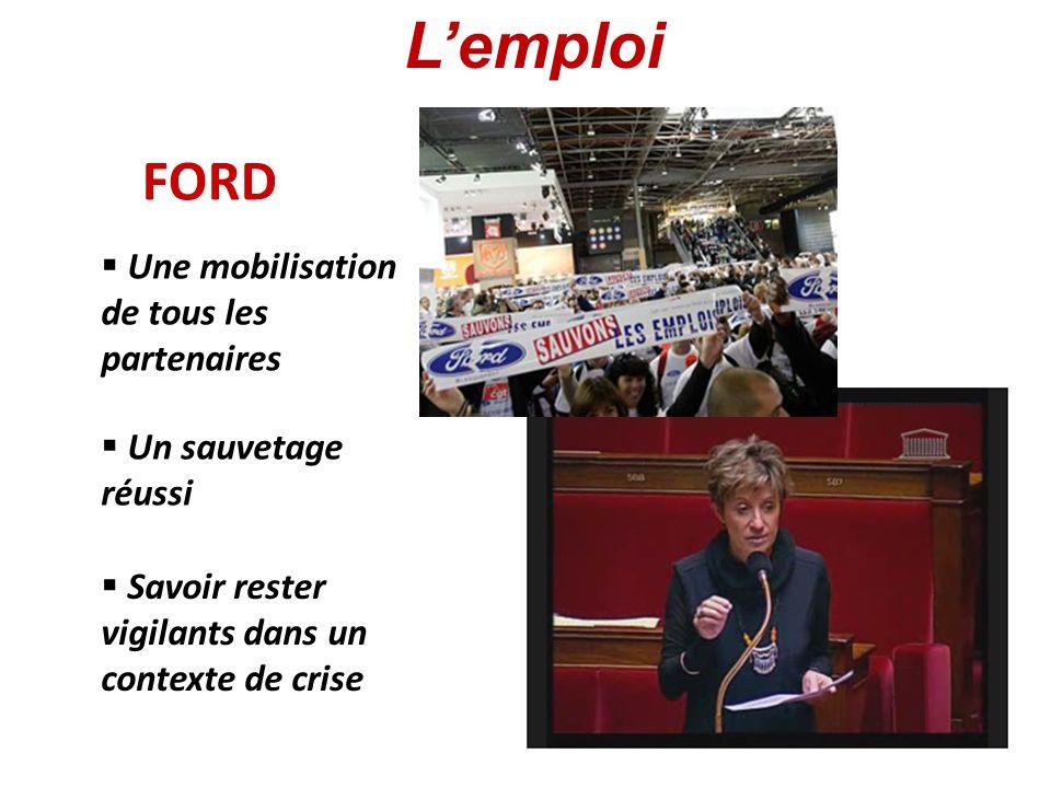 FORD Un sauvetage réussi Savoir rester vigilants dans un contexte de crise Une mobilisation de tous les partenaires Lemploi