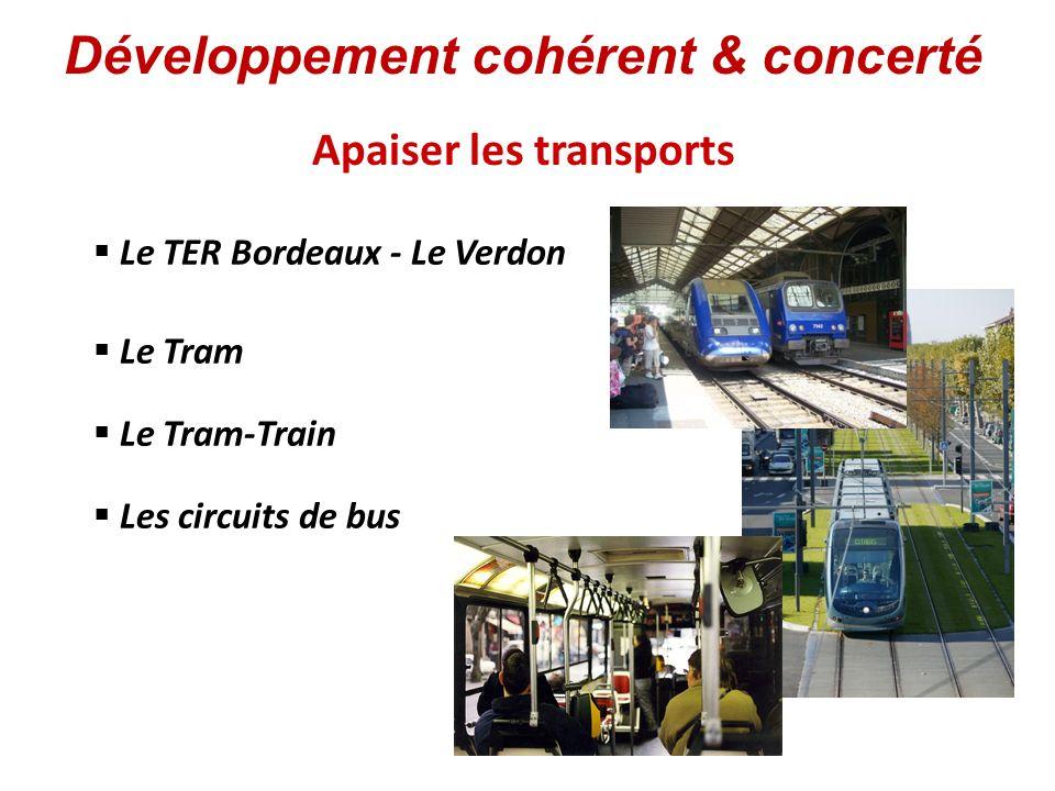 Apaiser les transports Le Tram Le TER Bordeaux - Le Verdon Le Tram-Train Les circuits de bus Développement cohérent & concerté