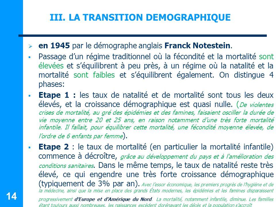 III.LA TRANSITION DEMOGRAPHIQUE en 1945 par le démographe anglais Franck Notestein.