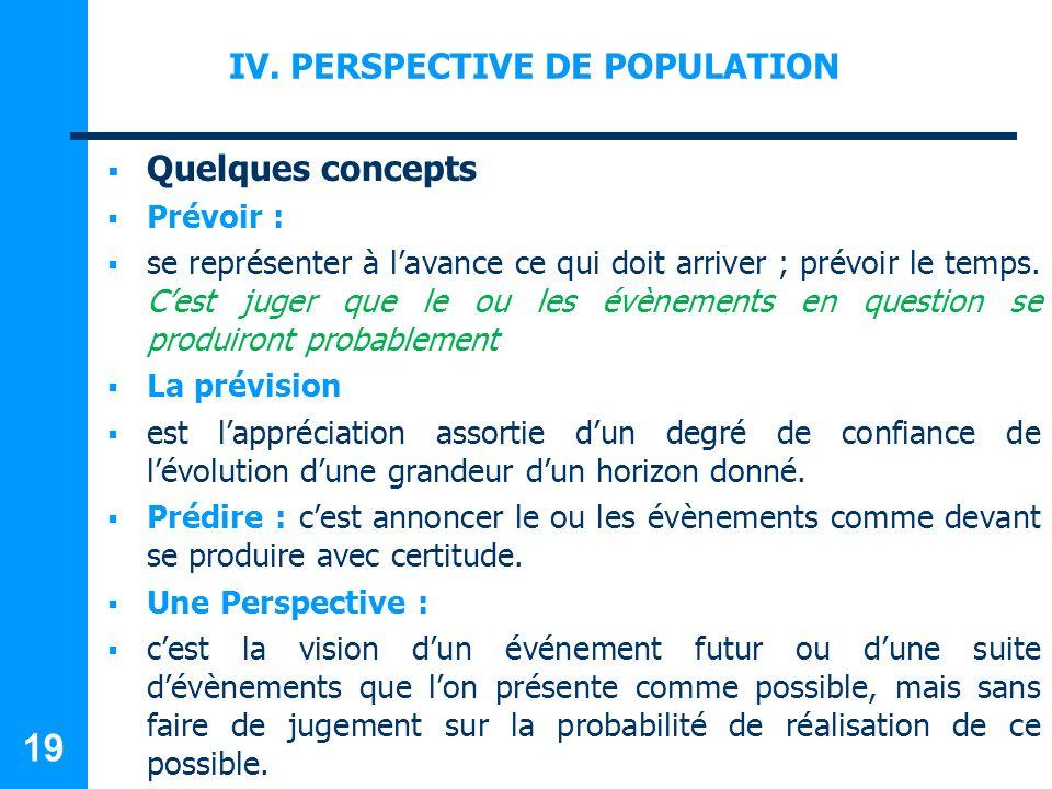 IV. PERSPECTIVE DE POPULATION Quelques concepts Prévoir : se représenter à lavance ce qui doit arriver ; prévoir le temps. Cest juger que le ou les év