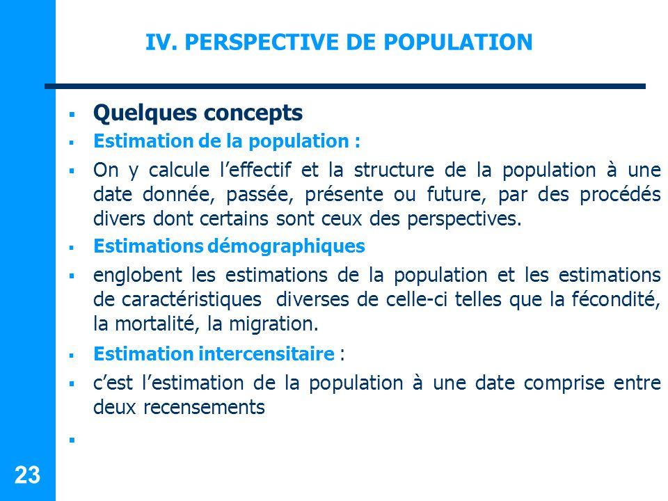 IV. PERSPECTIVE DE POPULATION Quelques concepts Estimation de la population : On y calcule leffectif et la structure de la population à une date donné