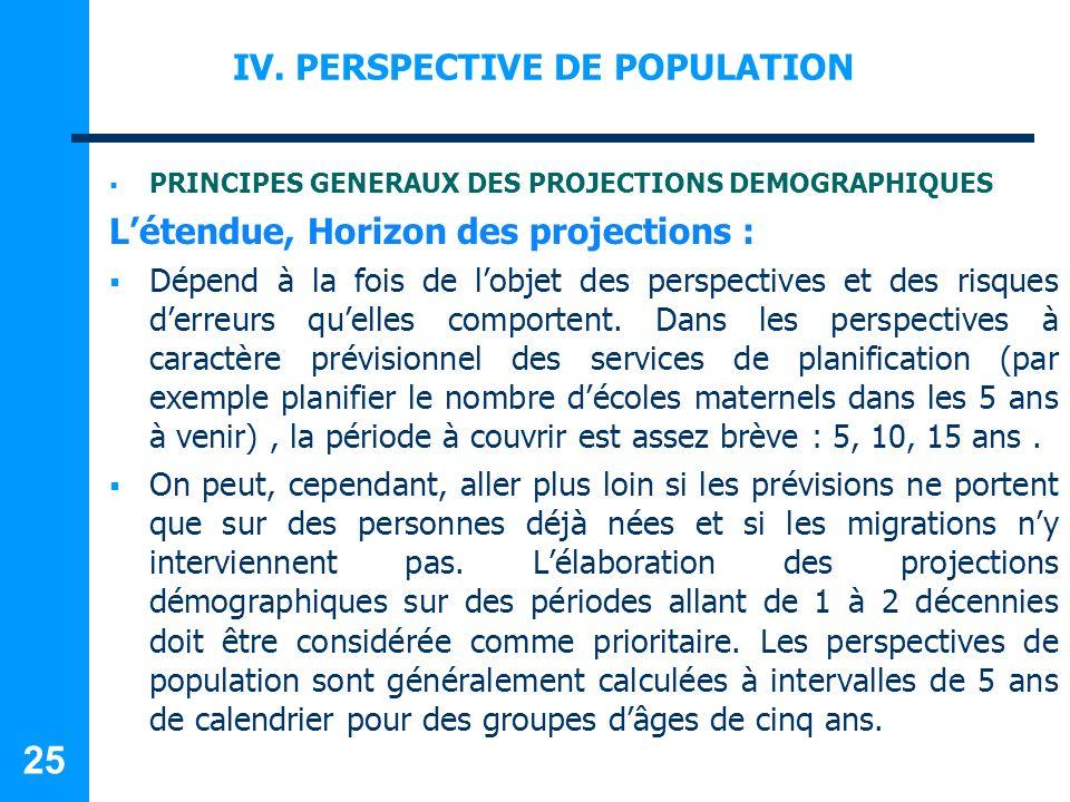 IV. PERSPECTIVE DE POPULATION PRINCIPES GENERAUX DES PROJECTIONS DEMOGRAPHIQUES Létendue, Horizon des projections : Dépend à la fois de lobjet des per