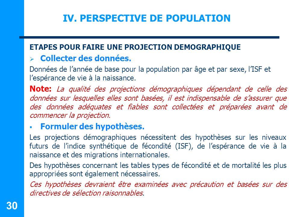 IV.PERSPECTIVE DE POPULATION ETAPES POUR FAIRE UNE PROJECTION DEMOGRAPHIQUE Collecter des données.