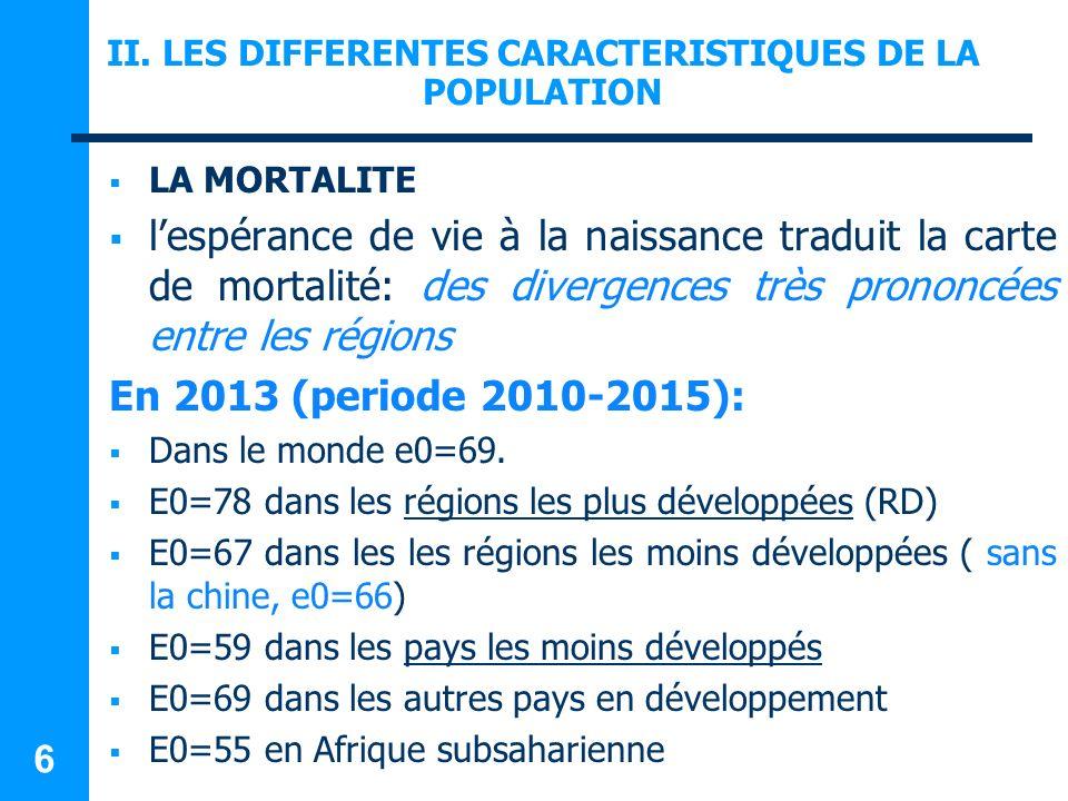 II. LES DIFFERENTES CARACTERISTIQUES DE LA POPULATION LA MORTALITE lespérance de vie à la naissance traduit la carte de mortalité: des divergences trè
