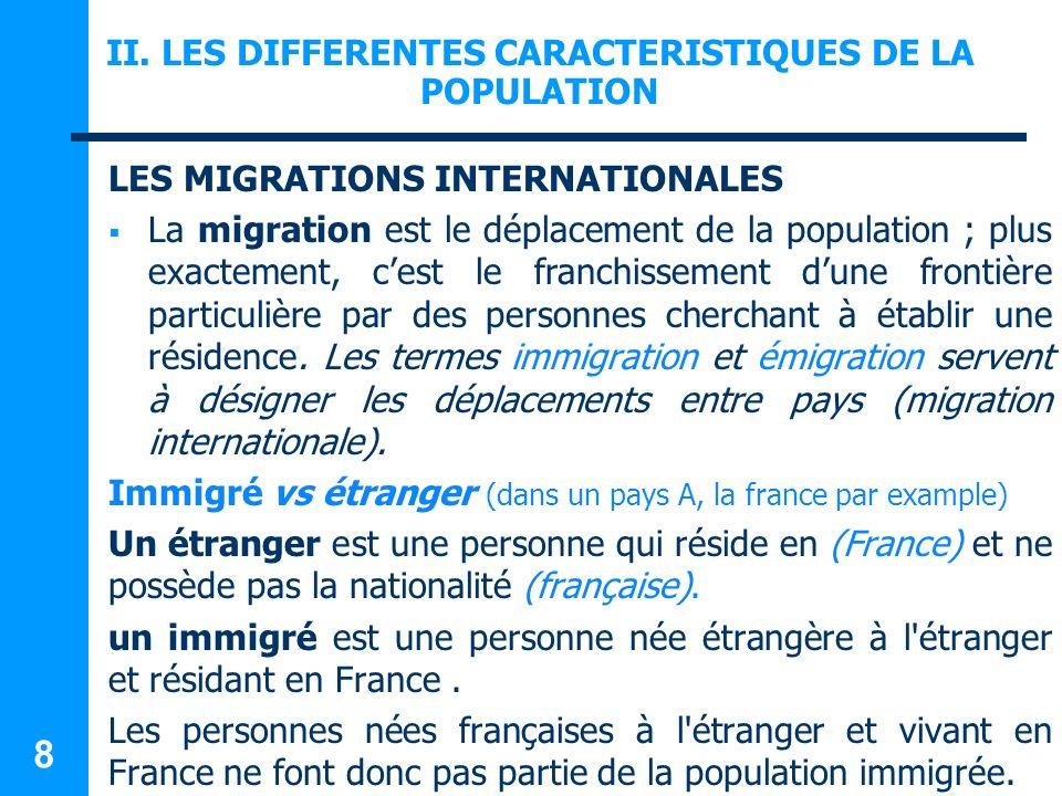 LES DIFFERENTES CARACTERISTIQUES DE LA POPULATION LES MIGRATIONS INTERNATIONALES Un étranger n est pas forcément immigré, il peut être né en France.(les enfants mineurs notamment) Certains immigrés ont pu devenir français, les autres restant étrangers.
