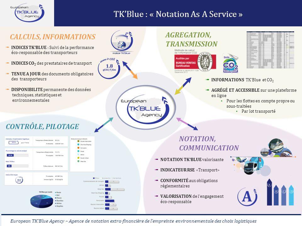 European TKBlue Agency – Agence de notation extra-financière de lempreinte environnementale des choix logistiques TKBlue : « Notation As A Service » E