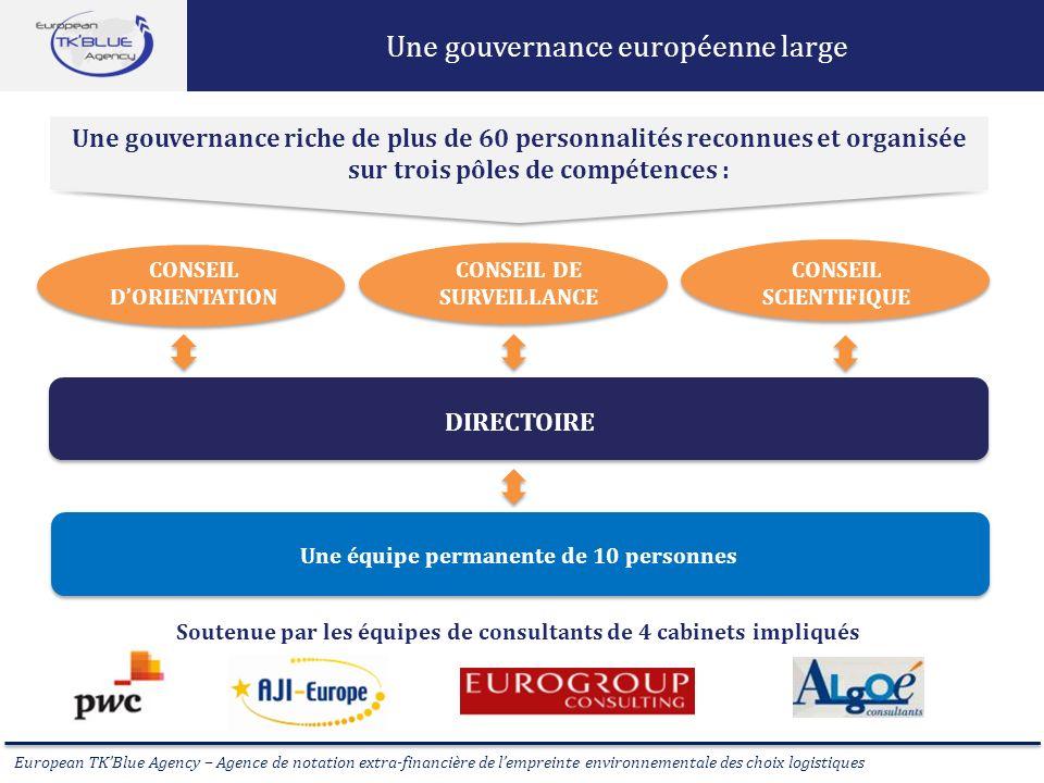 European TKBlue Agency – Agence de notation extra-financière de lempreinte environnementale des choix logistiques Une gouvernance européenne large CON