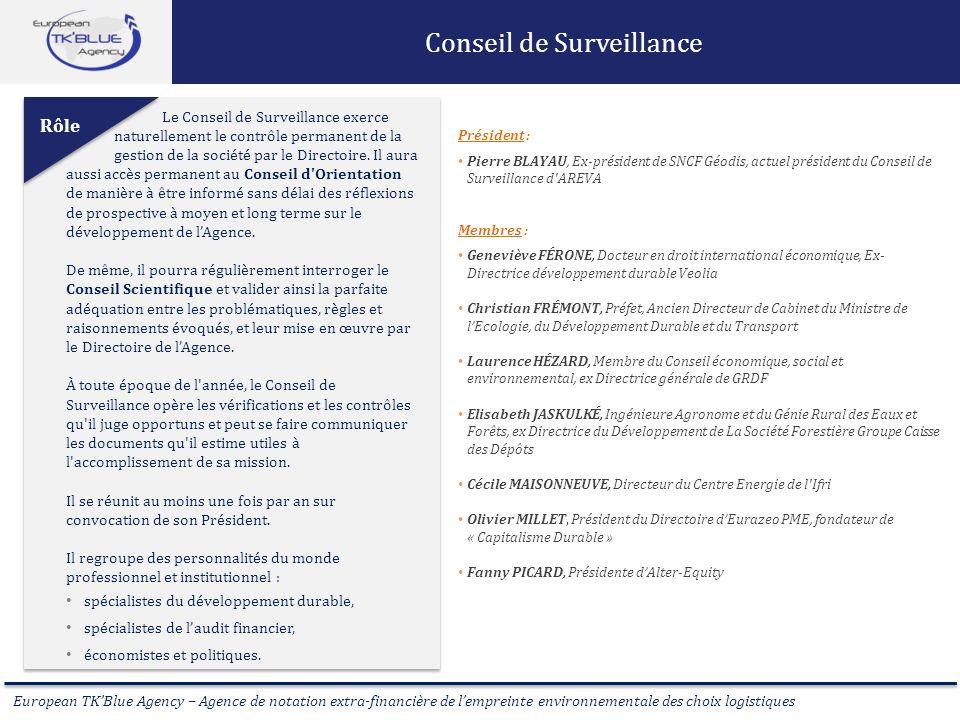 European TKBlue Agency – Agence de notation extra-financière de lempreinte environnementale des choix logistiques Conseil de Surveillance Le Conseil d