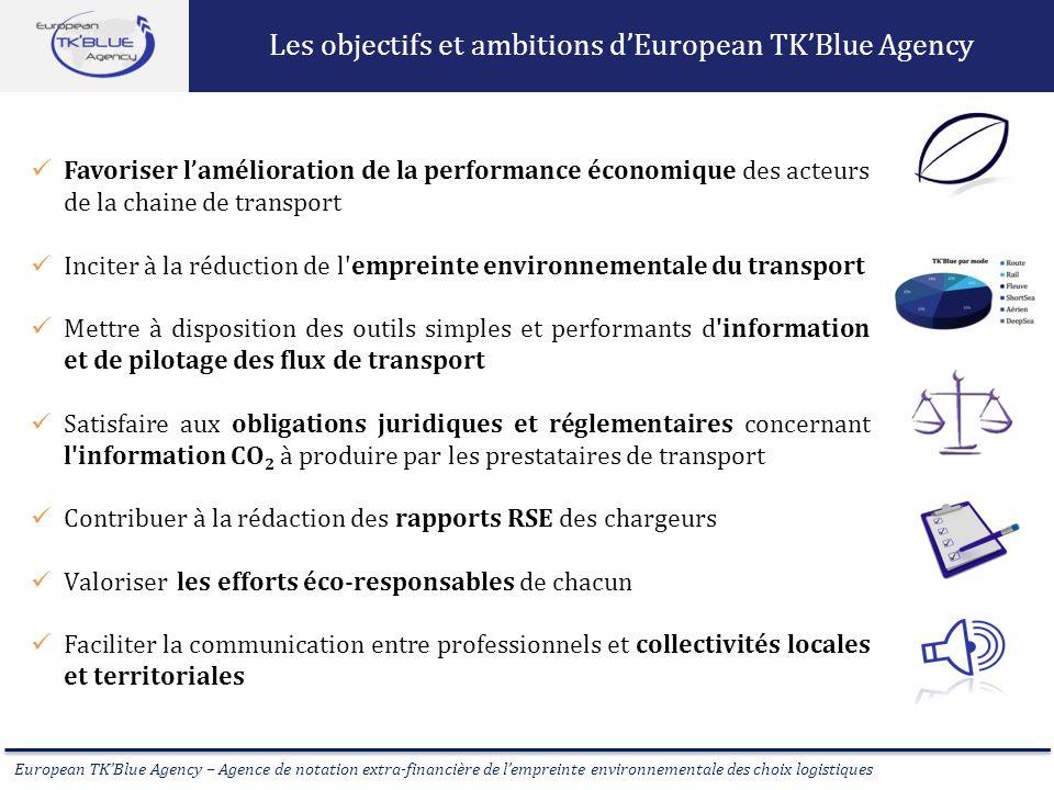European TKBlue Agency – Agence de notation extra-financière de lempreinte environnementale des choix logistiques Favoriser lamélioration de la perfor