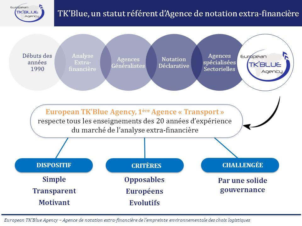 European TKBlue Agency – Agence de notation extra-financière de lempreinte environnementale des choix logistiques TKBlue, un statut référent dAgence d
