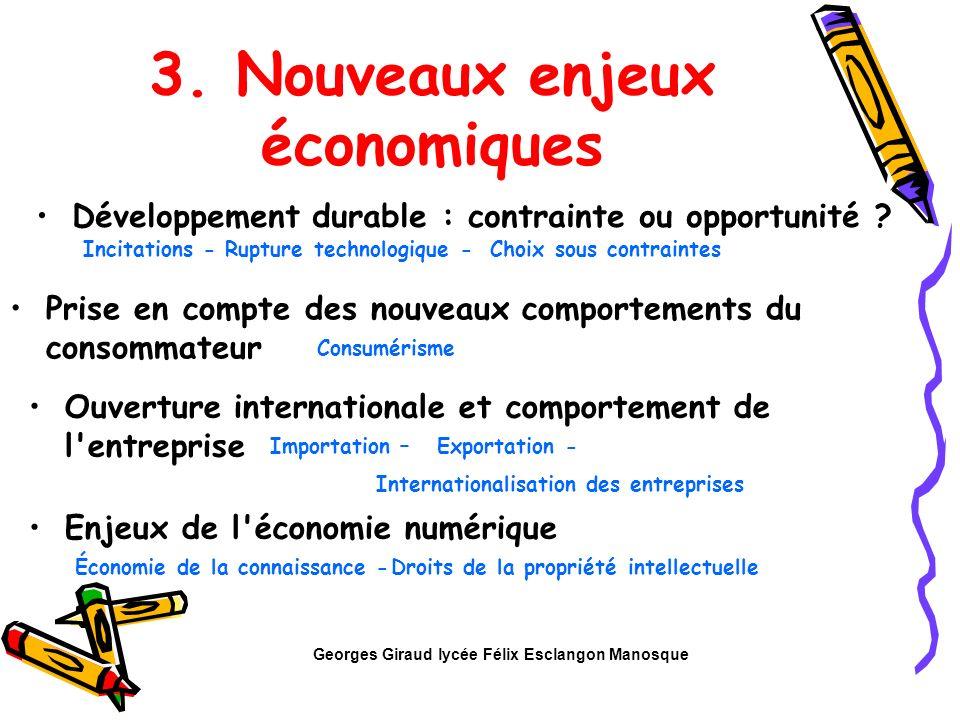 3. Nouveaux enjeux économiques Incitations - Développement durable : contrainte ou opportunité ? Rupture technologique -Choix sous contraintes Ouvertu