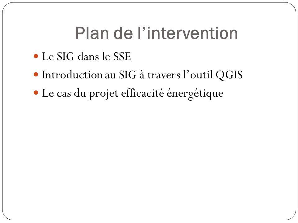 Plan de lintervention Le SIG dans le SSE Introduction au SIG à travers loutil QGIS Le cas du projet efficacité énergétique