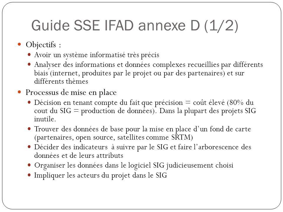 Guide SSE IFAD annexe D (1/2) Objectifs : Avoir un système informatisé très précis Analyser des informations et données complexes recueillies par différents biais (internet, produites par le projet ou par des partenaires) et sur différents thèmes Processus de mise en place Décision en tenant compte du fait que précision = coût élevé (80% du cout du SIG = production de données).