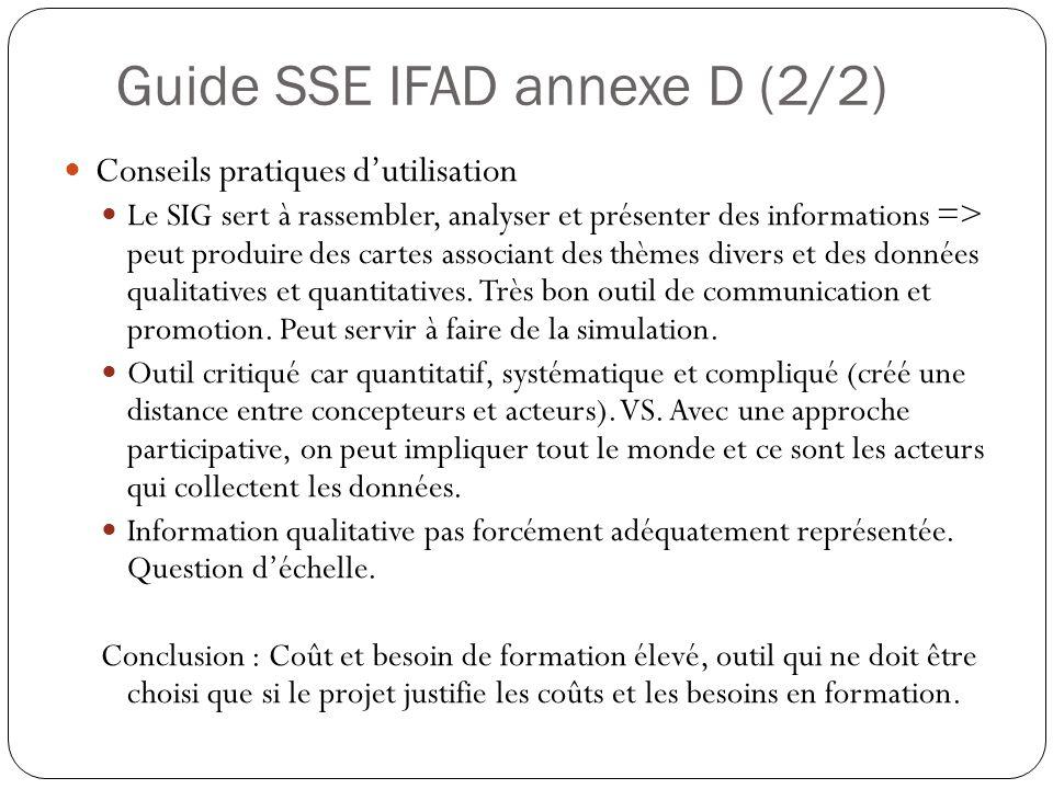 Guide SSE IFAD annexe D (2/2) Conseils pratiques dutilisation Le SIG sert à rassembler, analyser et présenter des informations => peut produire des cartes associant des thèmes divers et des données qualitatives et quantitatives.
