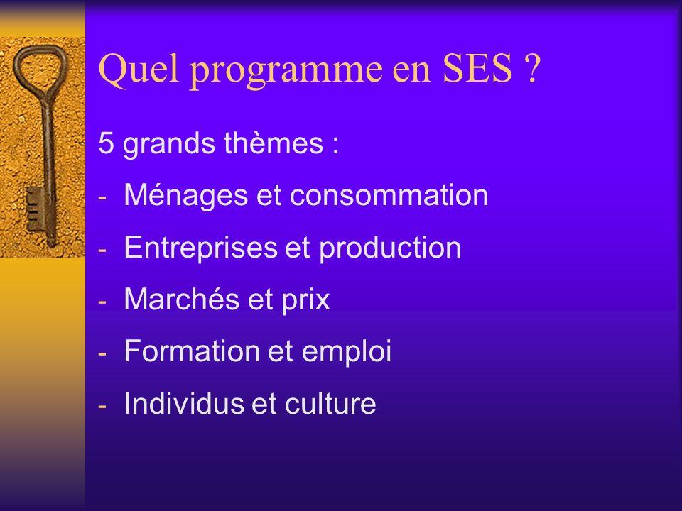 Programme SES Quelles sont les différentes sources de revenu .