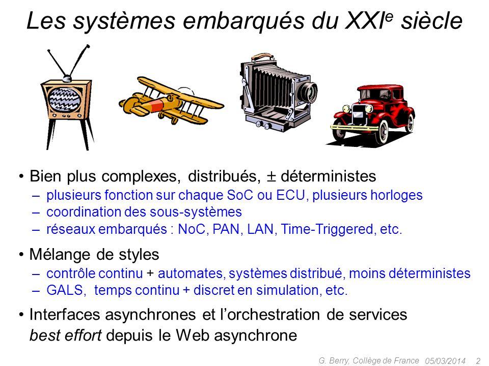 05/03/2014 2 G. Berry, Collège de France Les systèmes embarqués du XXI e siècle Bien plus complexes, distribués, déterministes – plusieurs fonction su