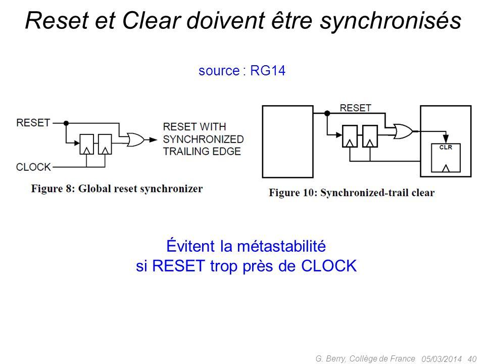05/03/2014 40 G. Berry, Collège de France Reset et Clear doivent être synchronisés Évitent la métastabilité si RESET trop près de CLOCK source : RG14