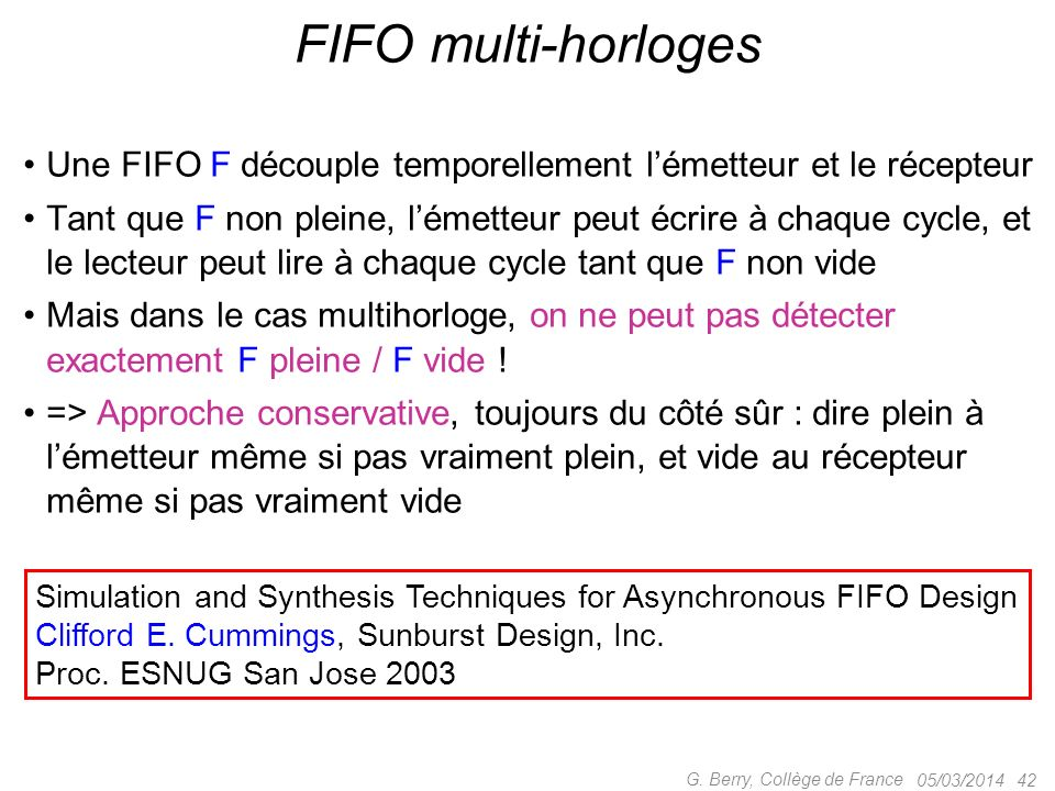 Une FIFO F découple temporellement lémetteur et le récepteur Tant que F non pleine, lémetteur peut écrire à chaque cycle, et le lecteur peut lire à ch