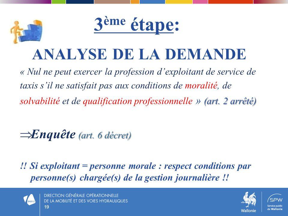 3 ème étape: ANALYSE DE LA DEMANDE « Nul ne peut exercer la profession dexploitant de service de taxis sil ne satisfait pas aux conditions de moralité