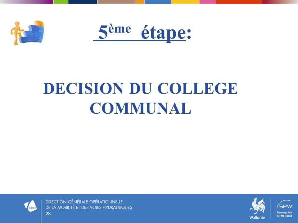 5 ème étape: DECISION DU COLLEGE COMMUNAL 23