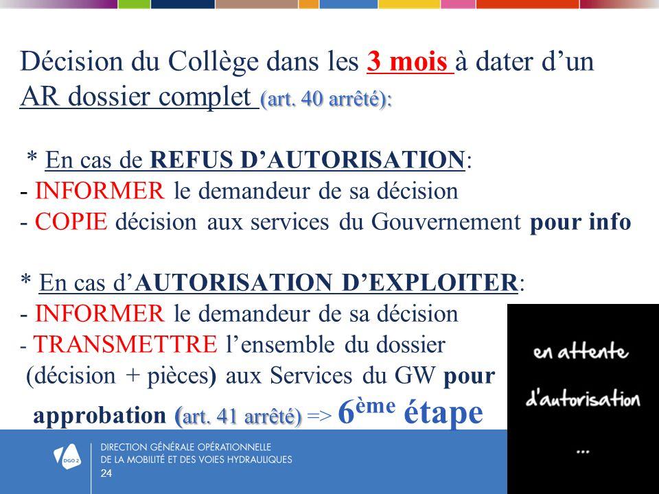 (art. 40 arrêté): ( art. 41 arrêté) Décision du Collège dans les 3 mois à dater dun AR dossier complet (art. 40 arrêté): * En cas de REFUS DAUTORISATI