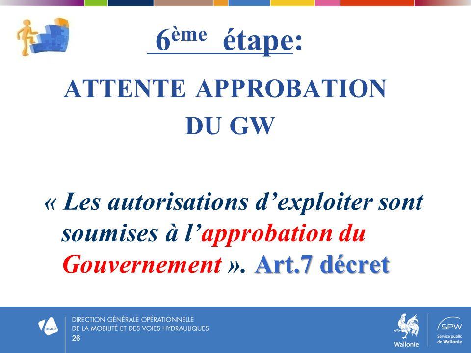 6 ème étape: ATTENTE APPROBATION DU GW « Les autorisations dexploiter sont soumises à lapprobation du Gouvernement ». A AA Art.7 décret 26