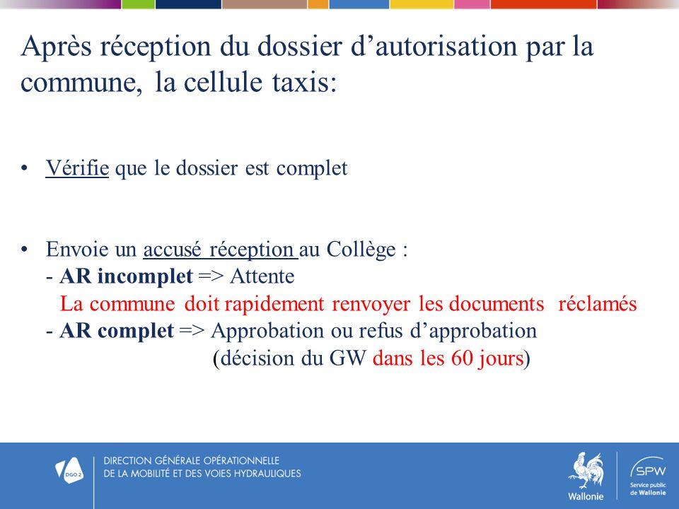 Après réception du dossier dautorisation par la commune, la cellule taxis: Vérifie que le dossier est complet Envoie un accusé réception au Collège :