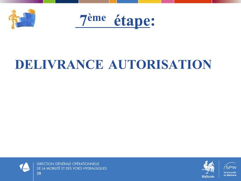 7 ème étape: DELIVRANCE AUTORISATION 29