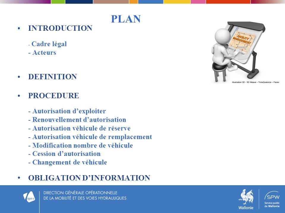 PLAN INTRODUCTION - Cadre légal - Acteurs DEFINITION PROCEDURE - Autorisation dexploiter - Renouvellement dautorisation - Autorisation véhicule de rés