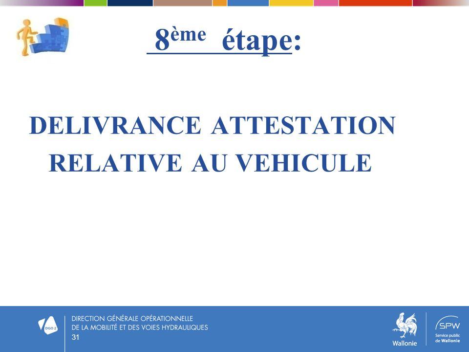8 ème étape: DELIVRANCE ATTESTATION RELATIVE AU VEHICULE 31