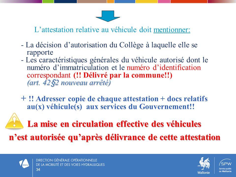 (art. 42§2 nouveau arrêté) Lattestation relative au véhicule doit mentionner: - La décision dautorisation du Collège à laquelle elle se rapporte - Les