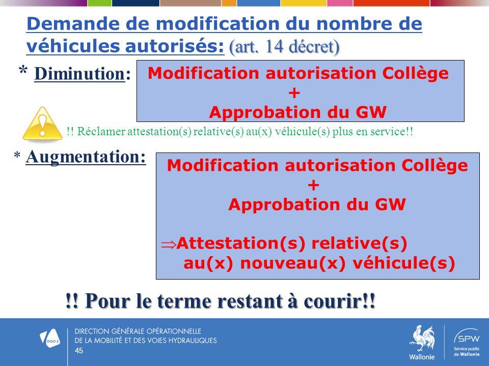 (art. 14 décret) Demande de modification du nombre de véhicules autorisés: (art. 14 décret) * Diminution: !! Réclamer attestation(s) relative(s) au(x)