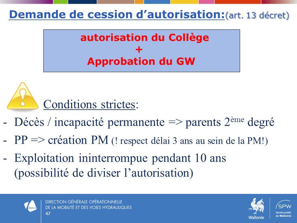 (art. 13 décret) Demande de cession dautorisation: (art. 13 décret) Conditions strictes: -Décès / incapacité permanente => parents 2 ème degré -PP =>