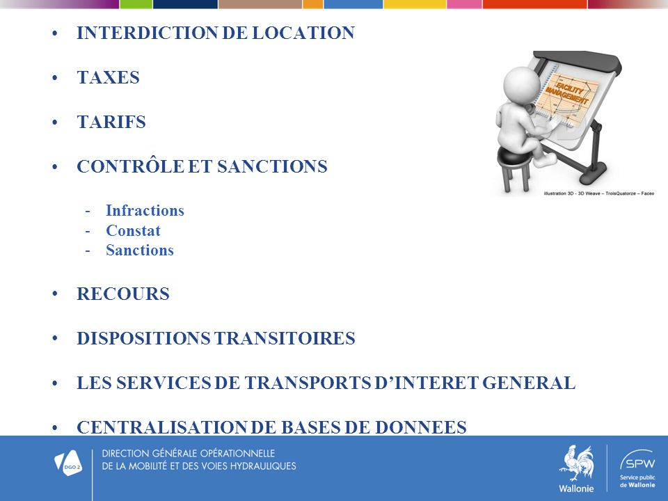 INTERDICTION DE LOCATION TAXES TARIFS CONTRÔLE ET SANCTIONS -Infractions -Constat -Sanctions RECOURS DISPOSITIONS TRANSITOIRES LES SERVICES DE TRANSPORTS DINTERET GENERAL CENTRALISATION DE BASES DE DONNEES