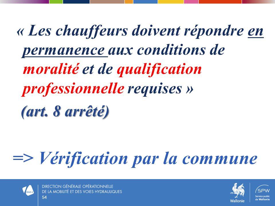 « Les chauffeurs doivent répondre en permanence aux conditions de moralité et de qualification professionnelle requises » (art. 8 arrêté) (art. 8 arrê