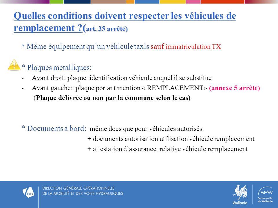 ( art. 35 arrêté) Quelles conditions doivent respecter les véhicules de remplacement ?( art. 35 arrêté) * Même équipement quun véhicule taxis sauf imm