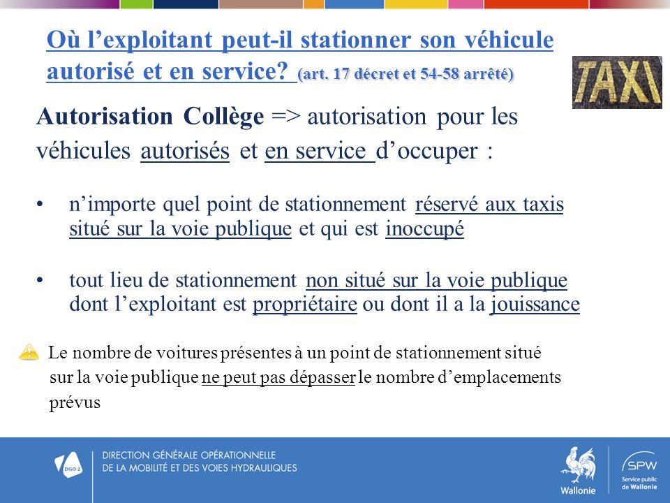 (art. 17 décret et 54-58 arrêté) Où lexploitant peut-il stationner son véhicule autorisé et en service? (art. 17 décret et 54-58 arrêté) Autorisation